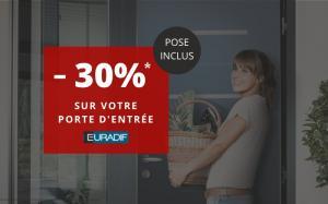 Jusqu'à -30% sur les portes d'entrée PASSAGE de la marque EURADIF