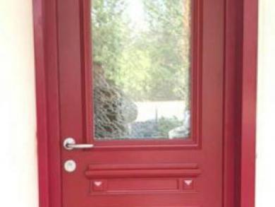 Porte d'entrée Aluminium Rouge et Blanche