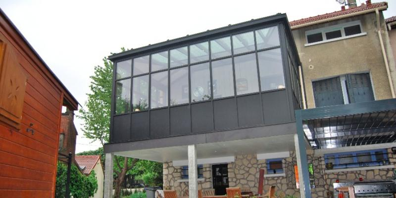 Véranda Verriere Aluminium Noir