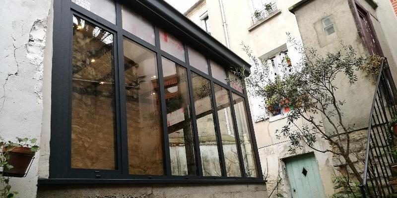 Veranda style verrière Aluminium Noir - Extension maison de ville