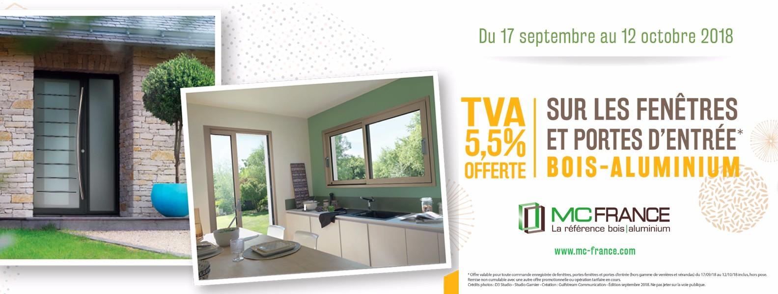 Taux 5,5% offert sur vos fenêtres et porte d'entrée en BOIS/Aluminium