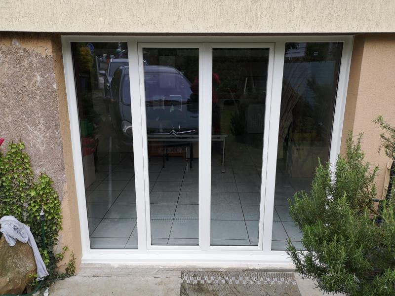 Porte Fenêtre Pvc En Remplacement Dune Porte De Garage Blanc Amtb